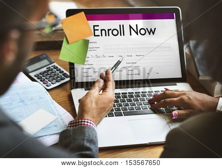 Enroll Now Submit Form Concept
