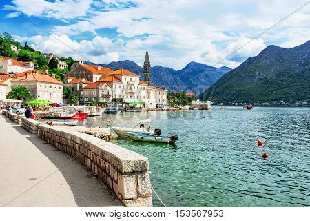 PERAST MONTENEGRO - SEPTEMBER 21: This is the waterfront promenade of Perast a small coastal town located in the Bay of Kotor. The town is a UNESCO world heritage site and is a popular tourist destination on September 21 2016 in Perast
