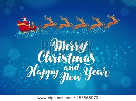 Christmas banner. Santa Claus rides in sleigh in harness on reindeer. Vector
