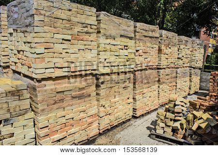 New brick packed and stacked waiting for sale.