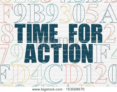 Time concept: Painted blue text Time for Action on White Brick wall background with Hexadecimal Code