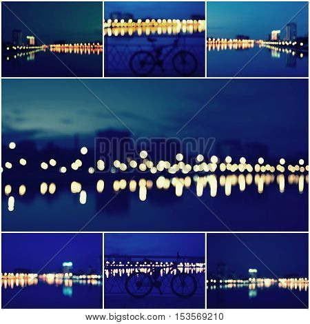 Abstract Background Collage of Beautiful Defocused City Lights, Blurred View of City Skyline and Reflection at Sunset.