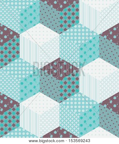 Winter seamless patchwork pattern. New Year background with cubes from patches. Vector illustration of quilt.