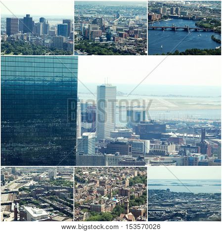 Aerial view of Boston, MA, USA Collage of photos.