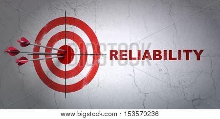 Success business concept: arrows hitting the center of target, Red Reliability on wall background, 3D rendering
