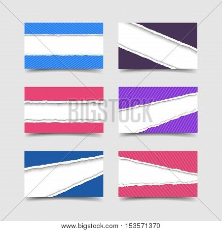 Business card with colorful torn paper template realistic vector illustration. Paper card with holes ripped edges and space for text. Business card template.