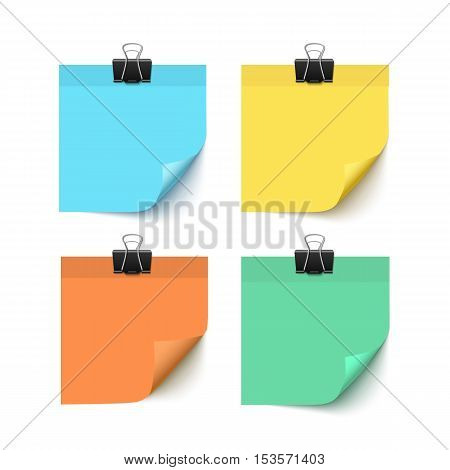 Set of post it notes isolated on white background vector realistic illustration. Colorful post it paper pieces with paper clips. Paper reminders with curl corners