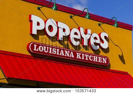 Anderson - Circa October 2016: Popeyes Louisiana Kitchen Fast Food Restaurant. Popeyes is known for its Cajun Style Fried Chicken I