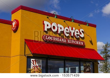 Anderson - Circa October 2016: Popeyes Louisiana Kitchen Fast Food Restaurant. Popeyes is known for its Cajun Style Fried Chicken II