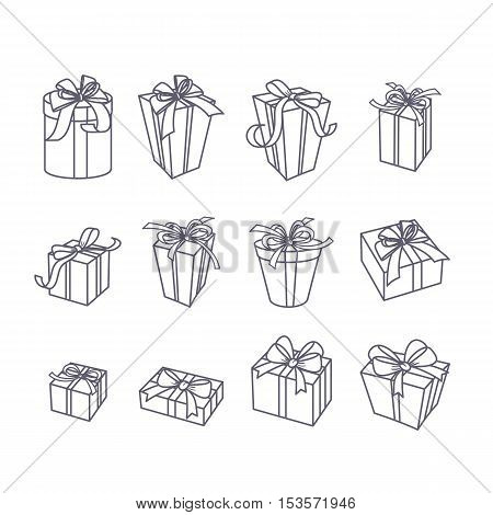Set Of Vector Outline Gift Icons. Black And White Line Boxes With Ribbons, Isolated Illustration.