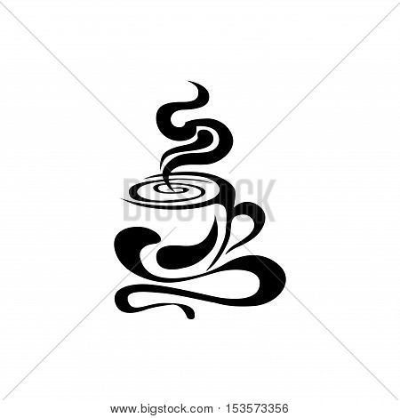Vector image of a Cup with a hot drink. Tea and coffee making facilities. Abstract couples