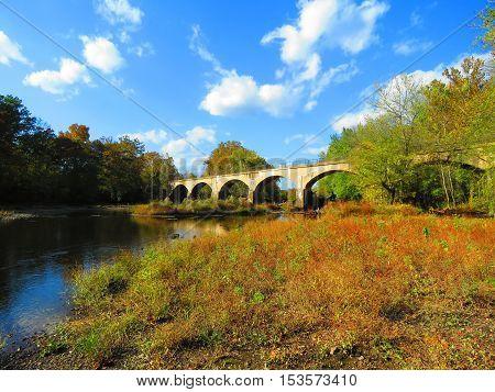 Schuylkill River Trail crossing the Schuylkill River near Douglassville, Pennsylvania