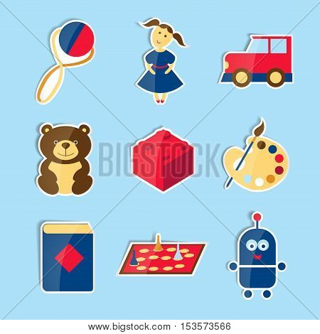 Set of icons-stickers for toys store. Nine categories.