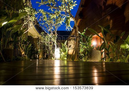 nightshot village in the Jungle of Ubud in Bali Indonesia Mandapa