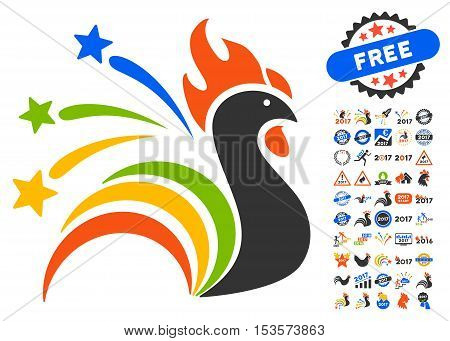 Fireworks Rooster pictograph with bonus 2017 new year clip art. Vector illustration style is flat iconic symbols, modern colors.