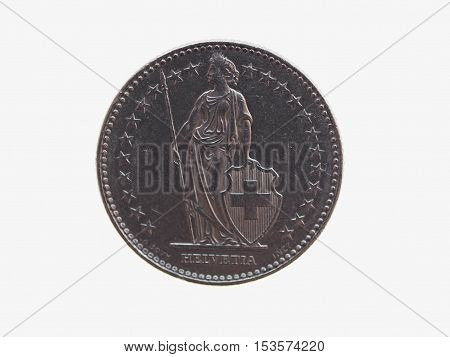 Swiss franc CHF (legal tender of Switzerland - Confederation Helvetique) coin