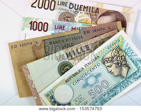 Italian liras banknotes withdrawn in 2002 with the Euro was adopted