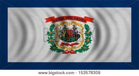 Flag of the US state of West Virginia. American patriotic element. USA banner. United States of America symbol. West Virginian official flag wavy real fabric texture illustration. Accurate size color