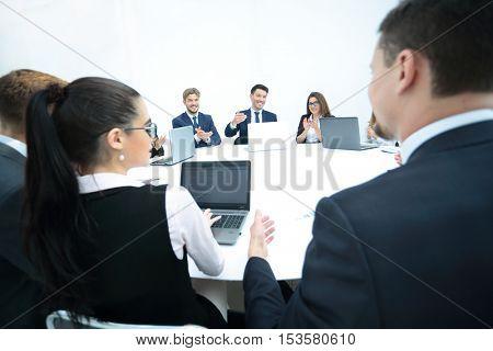 Business Team Meeting Seminar Training Concept. Collegues workin