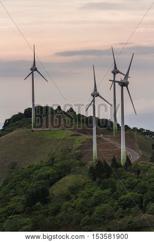 wind turbines on top of a mountain in the central valley of Costa Rica