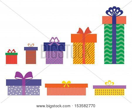 Set of isolated colourful gift boxes on white background