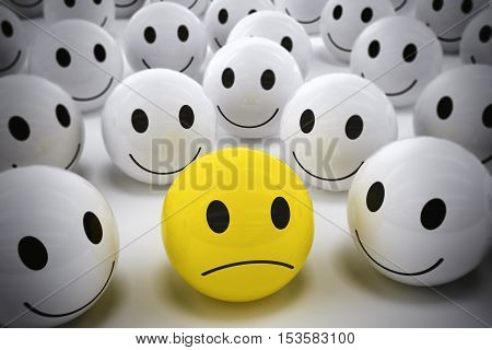 3D Rendering yellow ball with sad face among so many white smiling balls. happy team support their leader