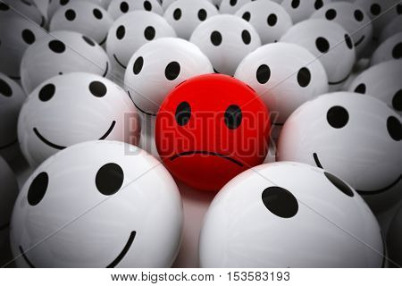 3D Rendering red ball with sad face among so many white smiling balls. happy team support their sad leader