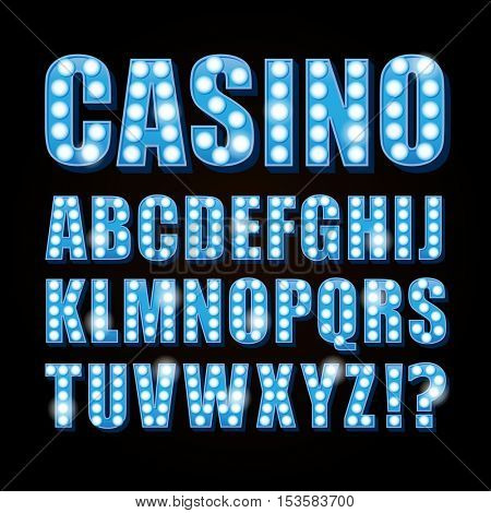 Vector blue neon lamp letters font show casino or theather