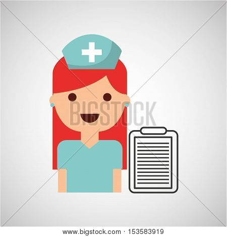 nurse charatcer with pill capsule medication design vector illustration