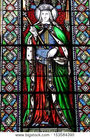 Saint Martin de Re France - september 25 2016 : stained glass window in Saint Martin church