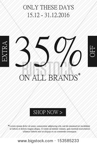 Vector promotional Extra 35 percent off banner for online stores websites retail posters social media ads. Creative banner layout for m-commerce promotions sale materials coupons advertising.