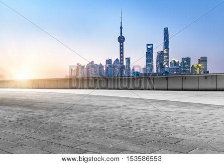 empty cement floor front of shanghai bund skyline,china.