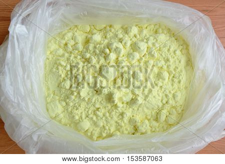 sulphur powder packing in clear plastic bag