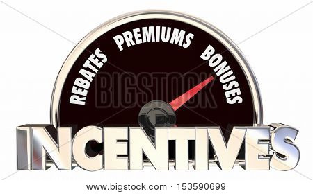 Incentives Rebates Premiums Bonus Offers Speedometer 3d Illustration