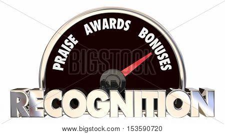 Recognition Praise Awards Bonuses Speedometer 3d Illustration