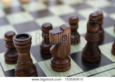 chess board with black chess pieces horizontal