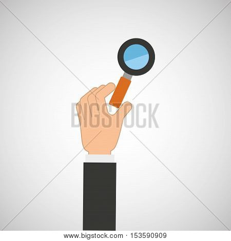 hand hold icon search loupe design flat isolated vector illustration eps 10