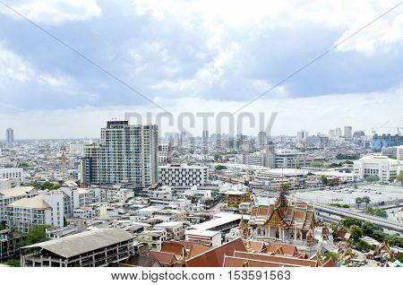Bangkok Skyline Birds eye View in Thailand