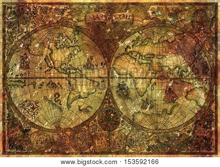 Vintage illustration with ancient world atlas map on antique parchment. Pirate adventures, treasure hunt and old transportation concept. Grunge texture with graphic drawings and mystic symbols