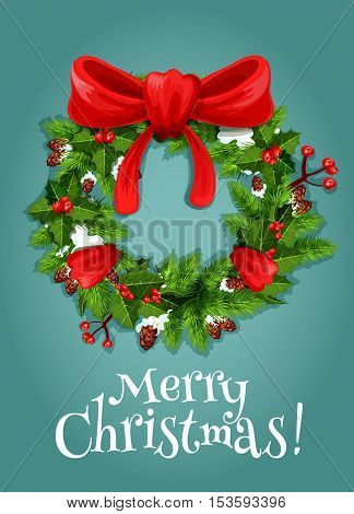 christmas tree wreath with red ribbon bow holiday card green branches of fir and holly