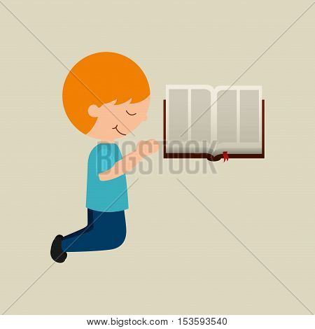 boy cartoon blesssed open bible graphic vector illustration eps 10
