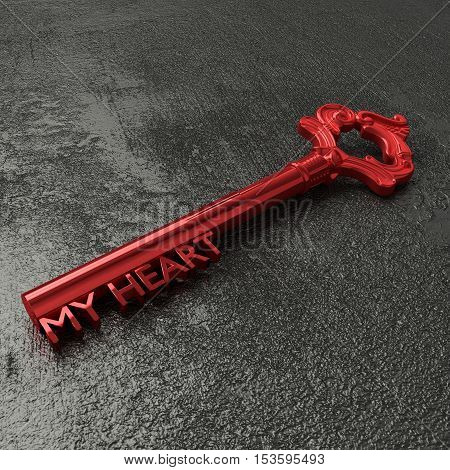 Red vintage key with the words my heart on a rough black stone table 3D illustration