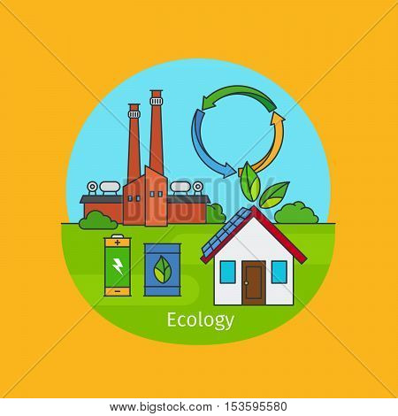 Ecology vector illustration, concept of enviroment friendly lifestyle. Vector illustration