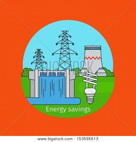 Energy savings concept illustration with energy saving bulb vector illustration