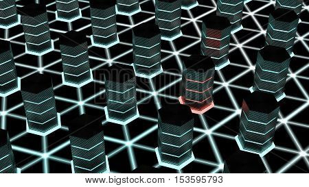 Dark server room with glowing hexagon supercomputers on a network floor and one hacked node cybersecurity 3D illustration