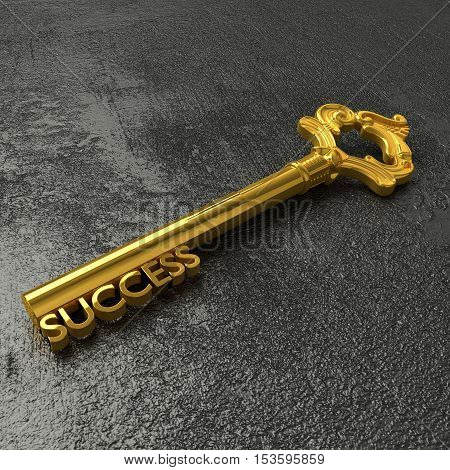 Golden vintage key with the word success on a rough black stone table 3D illustration