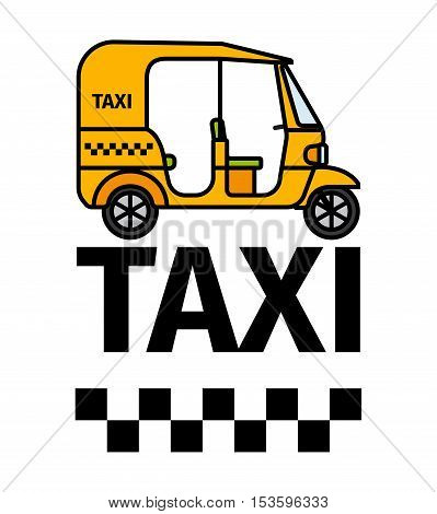 Tuk-tuk rickshaw taxi transport, advertising poster, vector illustration