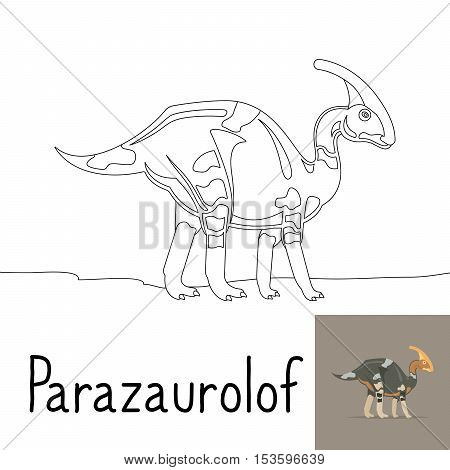 Coloring page for kids with Parazaurolof dinosaur and colored preview. Vector illustration