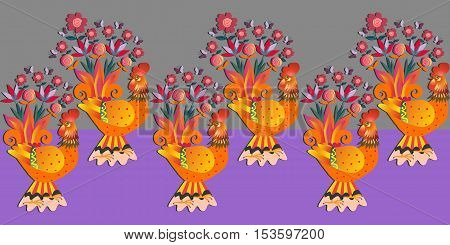 Border with fairy gold roosters on gray and purple background. Vector illustration. Year of the cock.