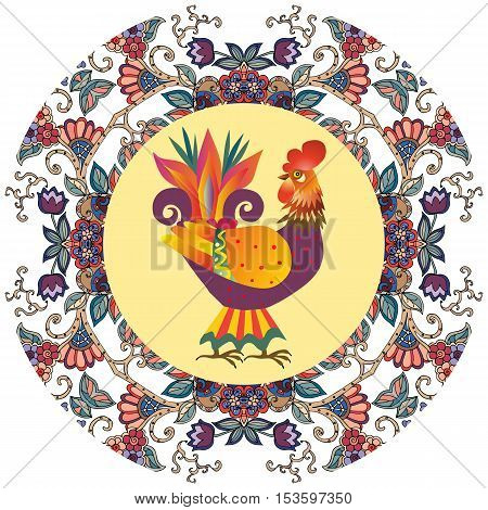 Decorative plate with beautiful floral ornament and cute cartoon cockerel - chinese symbol of 2017. Year of the Rooster. Packaging design.